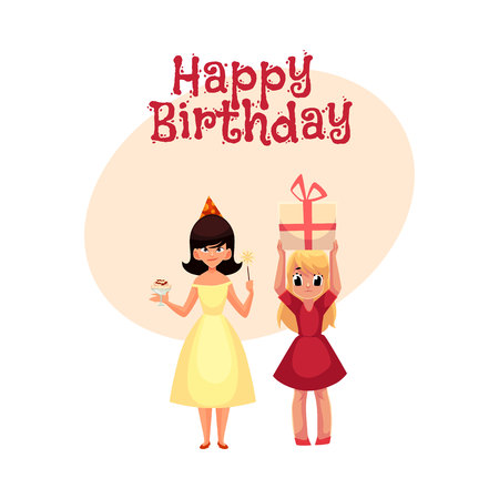 Happy birthday vector greeting card, poster, banner design with Two girls.