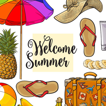 Square banner of summertime vacation attributes with place for text, sketch style vector illustration isolated on white background. Hand drawn summer objects, symbols, elements as banner, card, poster Ilustrace