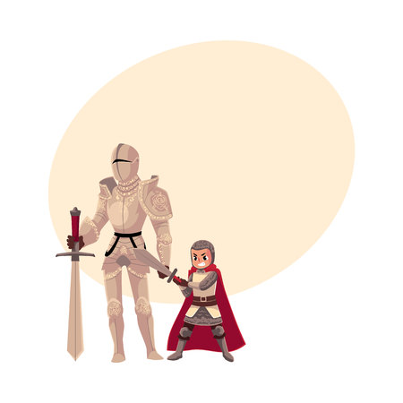 Medieval knight in decorated metal suit and his armor bearer, squire, cartoon vector illustration with space for text. Full length portrait of medieval heavy armored knight and armor bearer