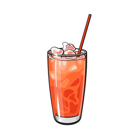 Tall glass full of freshly squeezed cold grapefruit juice with ice and straw, sketch style vector illustration on white background. Hand drawn glass of grapefruit juice with ice Illustration
