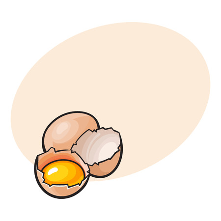 Whole and cracked, broken chicken egg with yolk inside, sketch style vector illustration with space for textHand drawn, sketched raw, uncooked chicken eggs, whole and broken