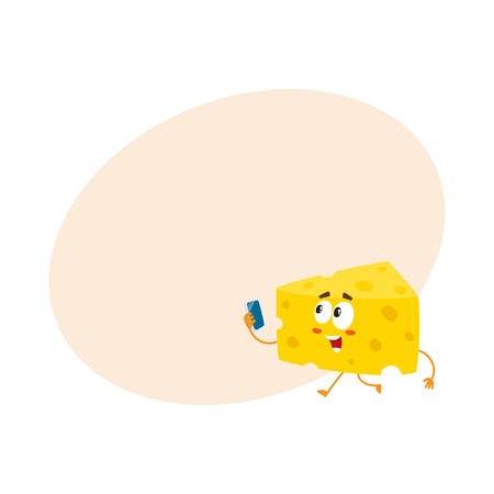Cute and funny cheese chunk character holding smartphone, cartoon vector illustration with space for text. Funny cheese piece character, mascot with human face running with phone in hand