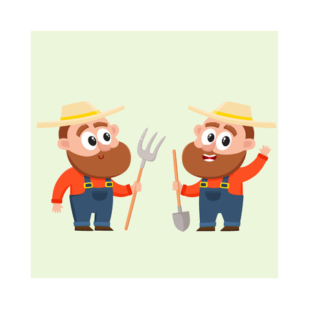Two funny farmer, gardener characters in straw hat and overalls, one holding shovel, another with hayfork, cartoon vector illustration isolated on white background. Couple of comic farmer characters Illustration