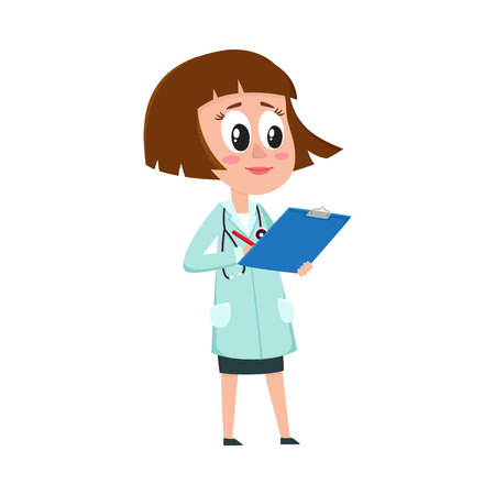 Comic woman doctor character writing something into medical record, cartoon vector illustration isolated on white background. Full length portrait of funny woman doctor holding clipboard