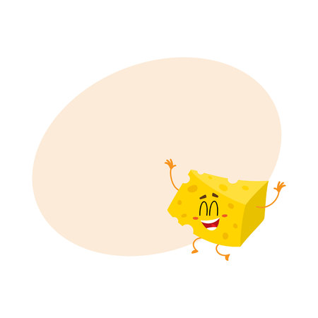 Cute and funny cheese chunk character jumping from happiness hands up, cartoon vector illustration with space for text. Funny, happy, laughing cheese piece character, mascot with human face
