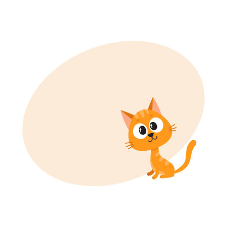 Cute and funny red cat character, sitting and looking curiously, interested, surprised, cartoon vector illustration with space for text. Cute and funny curious red cat character