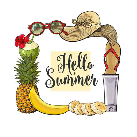 Square frame of summertime vacation attributes, Hello Summer banner design, sketch style vector illustration isolated on white background. Hand drawn summer objects, symbols, elements as square frame