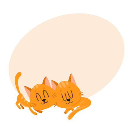 chasing tail: Two cute and funny cat characters sleeping together, cartoon vector illustration with space for text. Couple of cute sleeping, napping, dreaming little red cat, kitten characters