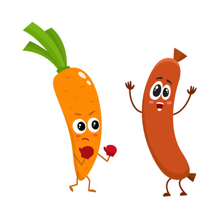 Funny food characters, carrot versus sausage, healthy lifestyle concept, cartoon vector illustration isolated on white background. Carrot fighting sausage characters, mascots, food infographics Illustration