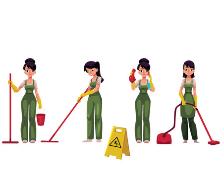 Set of cleaning service girl, charwoman, cleaner in overalls, cartoon vector illustration isolated on white background. Cleaning service girl doing vacuum cleaning, washing, holding mop and bucket Illustration