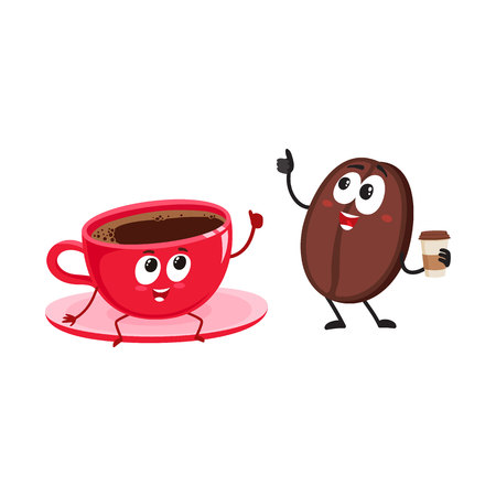Funny coffee bean and espresso cup characters showing thumb up, cartoon vector illustration isolated on white background. Coffee bean with paper coffee cup and espresso, americano characters, mascots Illustration