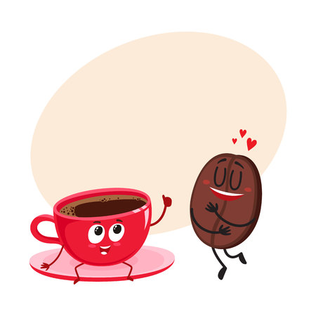 Funny characters of coffee bean showing love and espresso cup giving thumb up, cartoon vector illustration with space for text. Coffee bean and espresso cup characters, mascots, coffee love Иллюстрация