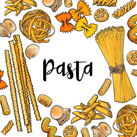 バナー フレーム テキスト調理イタリア パスタ、白い背景で隔離のベクトル図をスケッチします。ペンネ、スパゲティ、弓パスタ本文戦位と手描画