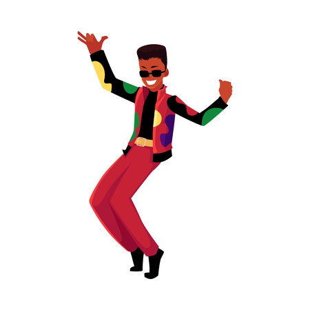 Black, African American man, guy in 1980s style clothes dancing disco, cartoon vector illustration isolated on white background. Black man in 80s style clothing dancing at retro disco party  イラスト・ベクター素材