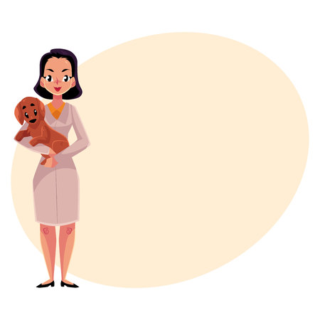cute dog: Young woman, female veterinarian doctor, vet in white medical coat holding a dog, cartoon vector illustration with space for text. Female, woman veterinarian doctor, vet holding a puppy