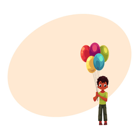 Little black, African American boy holding big bunch of birthday balloons, cartoon vector illustration with space for text. Full length portrait of black, African boy holding balloons