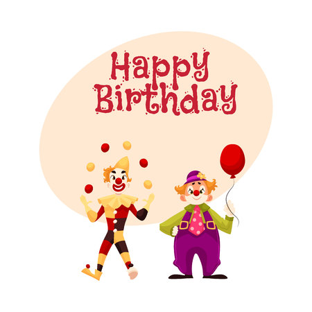 Happy birthday vector greeting card, poster, banner design with Two cheerful clown on a holiday, vector cartoon comic illustration. funny comic clown holding balloon, funny faces and cheerful mood