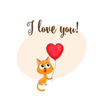 Ik houd van u groetkaart, bannermalplaatje met grappige kat, katje die rode hart gevormde ballon, beeldverhaal vectorillustratie houden. Leuke kat met hart ballon, liefde briefkaart, wenskaart, banner