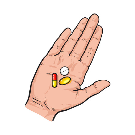 Hand holding three colorful pills, tablets in open palm with straight fingers, sketch style vector illustration on white background. Hand drawn hand holding three pills, medicine in open palm Illustration