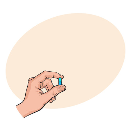 Hand holding two piece blue gelatin capsule by two fingers, side view sketch style vector illustration with space for tex. Drawing of hand holding pill, capsule, medicine by two fingers