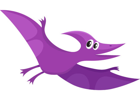 Cute and funny smiling baby pterodactyloidea, flying dinosaur, cartoon vector illustration isolated on white background. Funny, happy pterodactyloidea, avian dinosaur character, decoration element