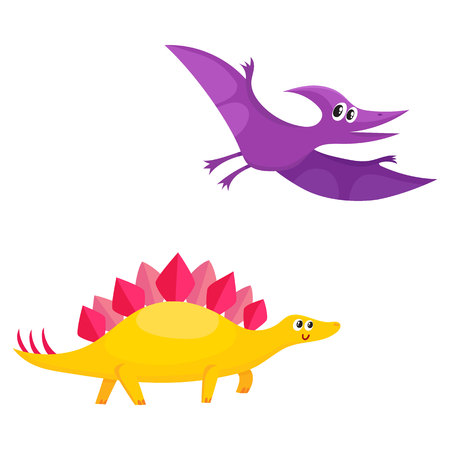 funny baby: Two funny baby dinosaur characters - stegosaurus and pterodactyloidea, cartoon vector illustration isolated on white background. Happy smiling stegosaurus and pterodactyloidea dinosaur characters Illustration