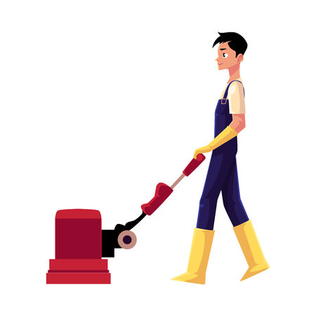 Cleaning service boy, man, cleaner in overalls using floor cleaning machine, side view cartoon vector illustration isolated on white background. Cleaning service boy with floor washing machine