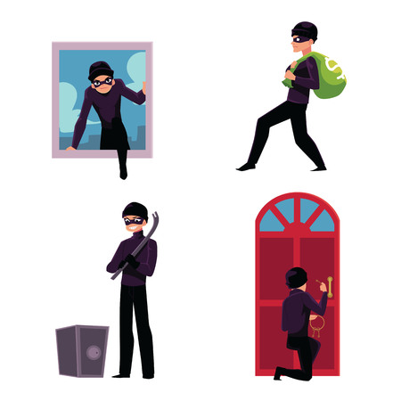 Set of thief, robber, burglar trying to steal money, break in the house, open safe, run away, cartoon vector illustration isolated on white background. Burglar, thief, robber in mask and black suit Illustration
