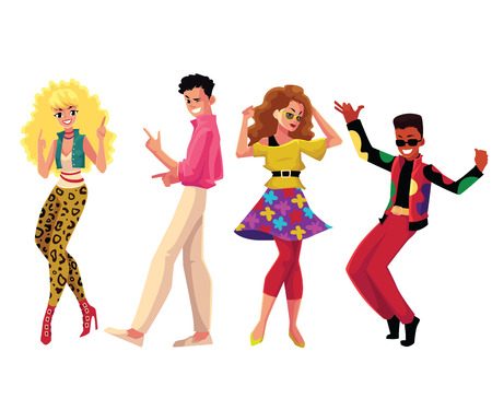 People in 1980s, eighties style clothes dancing disco, cartoon vector illustration isolated on white background. Men and women in 80s style clothing dancing at retro disco party