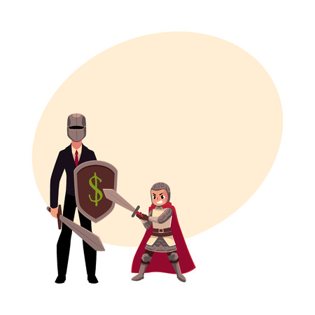 Businessman as knight with helmet, sword, shield, and his armor bearer, squire, cartoon vector illustrationwith space for text.