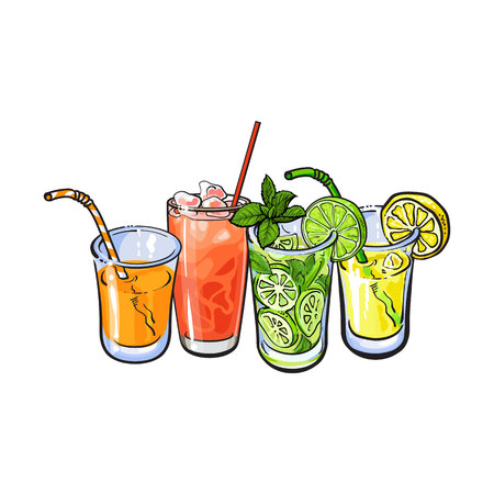 refreshment: Orange, grapefruit, lemon, lime juice with ice in glasses, sketch style vector illustration on white background. Hand drawn glass of grapefruit, orange, lemon, lime juice, cocktail, lemonade with ice