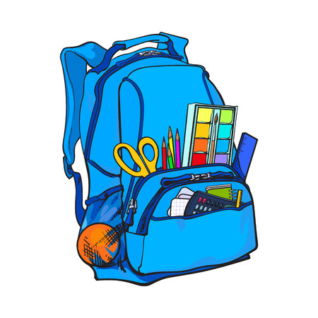Backpack packed with school items, supplies, sketch vector illustration isolated on white background. School bag, backpack staffed with personal belongings, school items, stationery objects Illustration