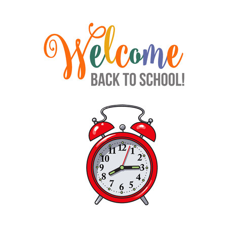 Welcome back to school poster, banner, postcard design with retro alarm clock, vector illustration isolated on white background. Welcome back to school poster, banner, card design with red clock Illustration