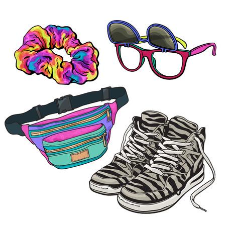 Retro elementos de cultura pop de 90s - scrunchie, gafas de sol con lentes extraíbles, zapatillas de zebra y cintura paquete, ilustración de boceto aisladas sobre fondo blanco. Conjunto dibujado a mano realista de artículos 90s Foto de archivo - 76365457
