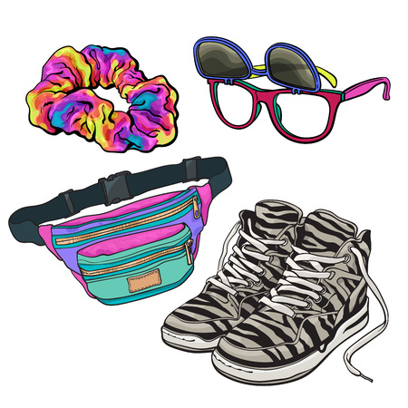 scrunchie: Retro pop culture items from 90s - scrunchie, sunglasses with removable lenses, zebra sneakers and waist pack, sketch illustration isolated on white background. Realistic hand drawn set of 90s items