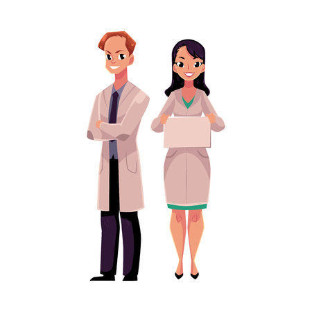 Male and female doctors in white medical coats, man with folded arms, woman holding blank sign, board, cartoon vector illustration isolated on white background. Full length portrait of two doctors Illustration