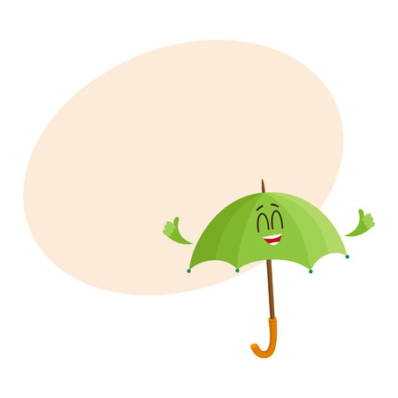 foldable: Cute and funny open green umbrella character with smiling human face giving thumb up, cartoon vector illustration with space for text. Open umbrella, parasol character, mascot, design element