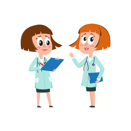 Two comic woman doctor characters, one telling, another writing something into medical record, cartoon vector illustration isolated on white background. Funny woman doctors filling in medical cards