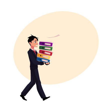 Young businessman overloaded with document folders, stressed out, in rush, cartoon vector illustration with space for text. Young messed up businessman with document folders, feeling stressed