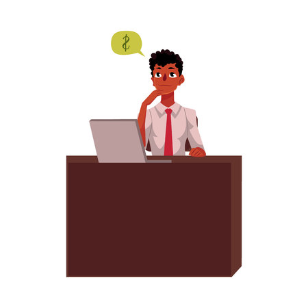 Black, African American businessman, manager, financial analyst at office desk, cartoon vector illustration isolated on white background. Black businessman, worker, employee working in office Illustration