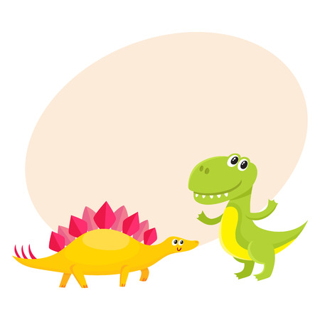 Two cute and funny baby dinosaur characters - stegosaurus and tyrannosaurus, cartoon vector illustration with space for text. Happy smiling stegosaurus and T-rex dinosaur characters