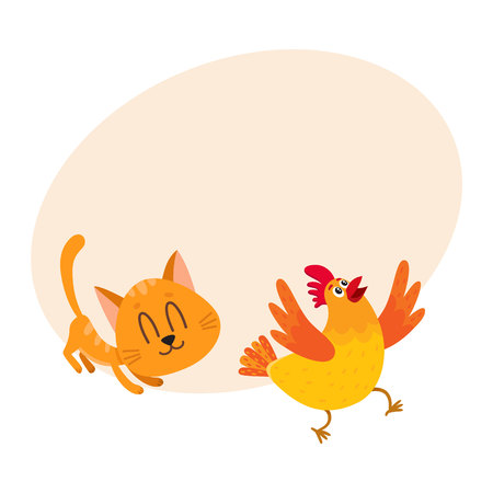 Funny red cat, kitten character chasing, playing with cackling chicken running away, cartoon vector illustration with space for text. Funny red cat, kitten character playing with chicken Illustration