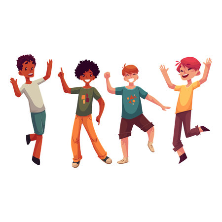 Black and Caucasian boys, kids having fun, dancing at party, cartoon vector illustration isolated on white background. Happy boys dancing, jumping at a kids, birthday party, having fun Ilustração