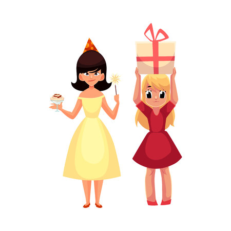 Two girls at birthday party, one mischievous with ice cream and magic wand, another holding big gift, cartoon vector illustration isolated on white background. Happy girls having fun at birthday party