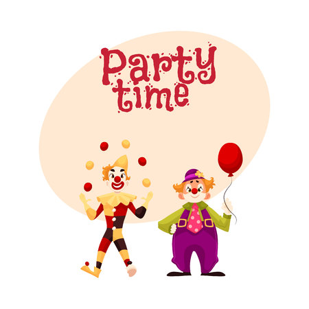 Twee vrolijke clown op een vakantie, vectoruitnodiging cartoon stijl, banner, poster, wenskaart ontwerp. grappige cartoon clown toont trucs, grappige komische clown houden ballon, grappige gezichten