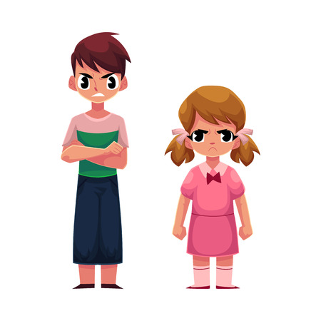 Angry, frowned little kids, boy with arms crossed on breast, girl clenching fists, cartoon vector illustration on white background. Frowning kids, boy and girl, standing anfry face expression