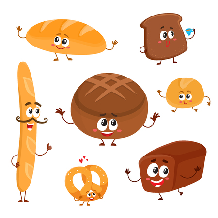 Set of funny bread, bakery characters with human faces, cartoon vector illustration isolated on a white background. Smiling white, rye and whole wheat bread, loaf, baguette, croissant, bun characters