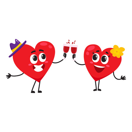 愛の概念のカップルを祝って、ガラスをチリンと二つの心は、白の背景にベクトル画像を漫画します。メガネ、バレンタインの日、結婚式のお祝い