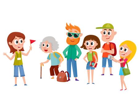 Guida turistica con un gruppo di turisti, fumetto illustrazione vettoriale isolato su sfondo bianco. Gruppo di turisti, famiglia itinerante che ascolta la guida femminile che dice qualcosa di interessante, visita della città