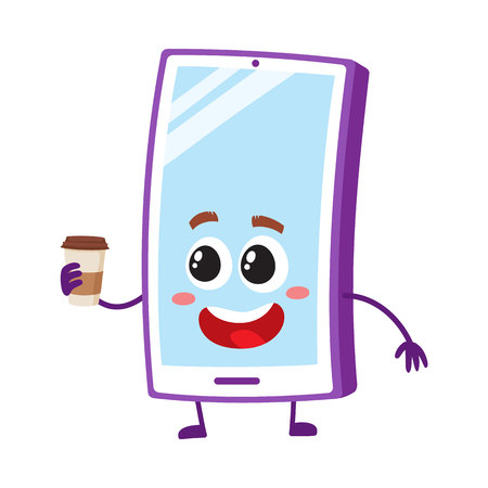 Funny cartoon mobile phone, smartphone character holding paper coffee cup, vector illustration isolated on white background. Happy cartoon mobile phone, smartphone character with morning coffee cup